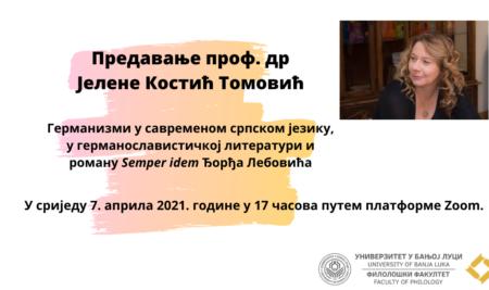 Предавање проф. др Јелене Костић Томовић